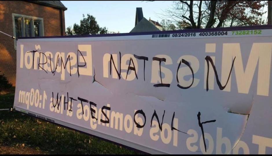 Racist graffiti at the Episcopal church in Hillandale, MD, Nov. 12, 2016.
