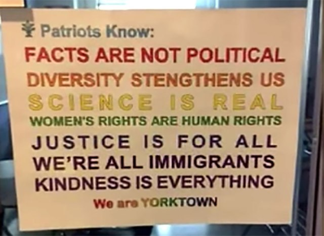 Screen capture of controversial sign at Yorktown High School